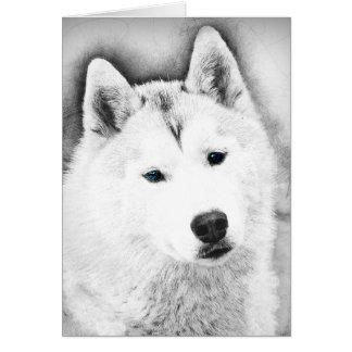 White Siberian Husky w/ Blue Eyes Fine Art Sketch Card