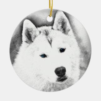 White Siberian Husky w/ Blue Eyes Fine Art Sketch Ceramic Ornament