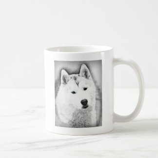 White Siberian Husky w/ Blue Eyes Fine Art Sketch Coffee Mug