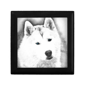 White Siberian Husky w/ Blue Eyes Fine Art Sketch Gift Box