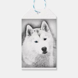 White Siberian Husky w/ Blue Eyes Fine Art Sketch Gift Tags