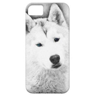 White Siberian Husky w/ Blue Eyes Fine Art Sketch iPhone 5 Case