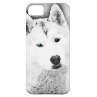 White Siberian Husky w/ Blue Eyes Fine Art Sketch iPhone 5 Cover