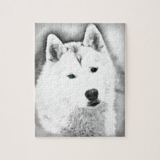 White Siberian Husky w/ Blue Eyes Fine Art Sketch Jigsaw Puzzle