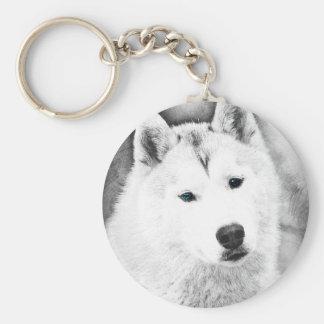White Siberian Husky w/ Blue Eyes Fine Art Sketch Keychain