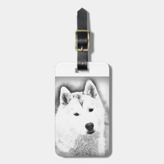 White Siberian Husky w/ Blue Eyes Fine Art Sketch Luggage Tag