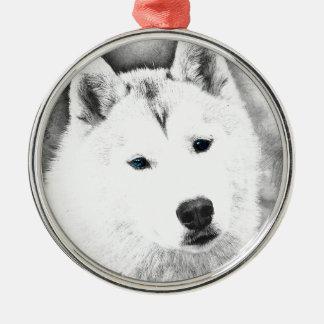 White Siberian Husky w/ Blue Eyes Fine Art Sketch Metal Ornament