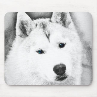 White Siberian Husky w/ Blue Eyes Fine Art Sketch Mouse Pad