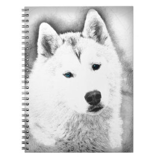 White Siberian Husky w/ Blue Eyes Fine Art Sketch Notebook