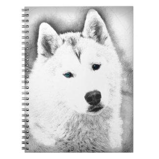 White Siberian Husky w/ Blue Eyes Fine Art Sketch Notebooks