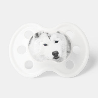 White Siberian Husky w/ Blue Eyes Fine Art Sketch Pacifier