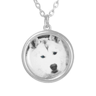 White Siberian Husky w/ Blue Eyes Fine Art Sketch Silver Plated Necklace