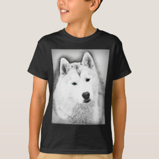 White Siberian Husky w/ Blue Eyes Fine Art Sketch T-Shirt
