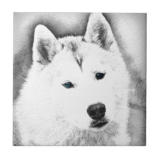White Siberian Husky w/ Blue Eyes Fine Art Sketch Tile