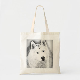 White Siberian Husky w/ Blue Eyes Fine Art Sketch Tote Bag