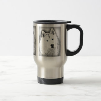 White Siberian Husky w/ Blue Eyes Fine Art Sketch Travel Mug