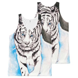 White Siberian Tiger Sow All-Over-Print Tank Top