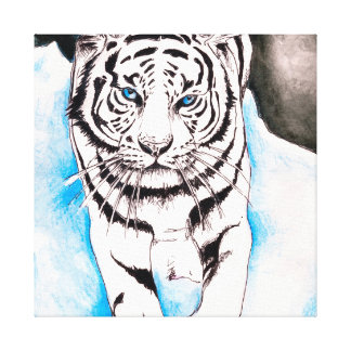 White Siberian Tiger Sow Canvas Print