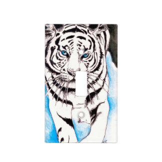 White Siberian Tiger Sow Light Switch Cover