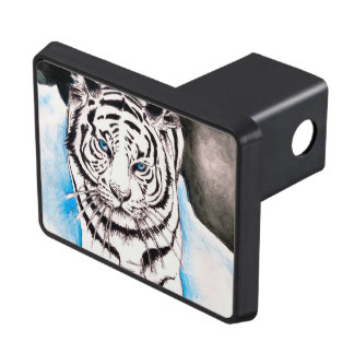 White Siberian Tiger Sow Trailer Hitch Cover