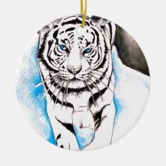 White Siberian Tiger Winter Ceramic Ornament