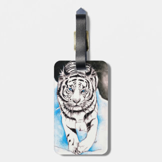 White Siberian Tiger Winter Luggage Tag
