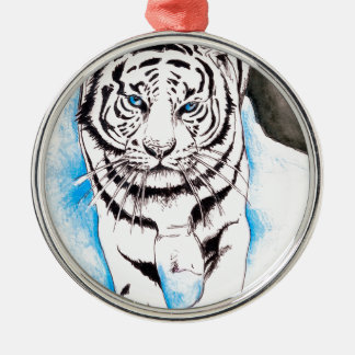 White Siberian Tiger Winter Metal Ornament