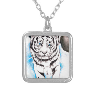 White Siberian Tiger Winter Silver Plated Necklace