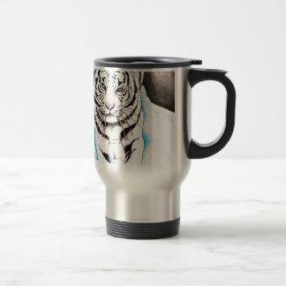 White Siberian Tiger Winter Travel Mug