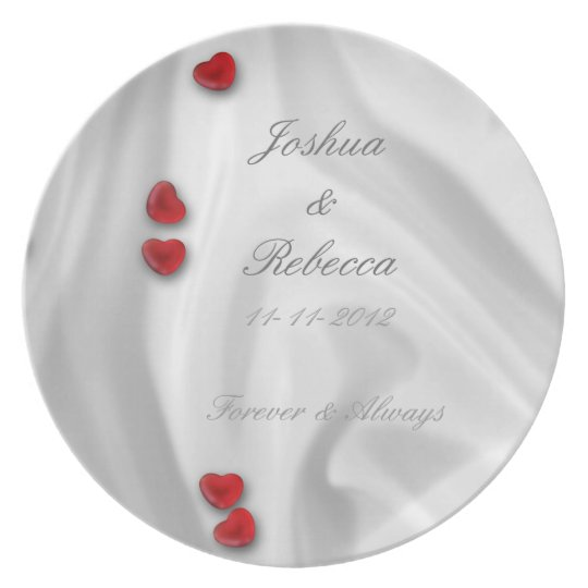 White Silk and Hearts Plate
