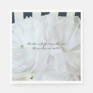 White Silk Flowers with Striped Background Paper Napkin