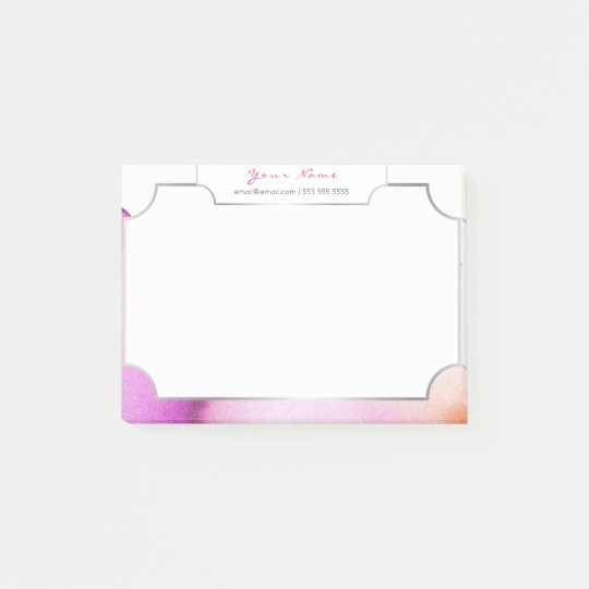 White Silver Abstract Painting Watercolor Pink Post-it Notes