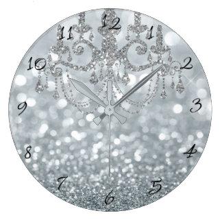 White Silver Glitter Bokeh Glam Chandelier Sparkle Large Clock