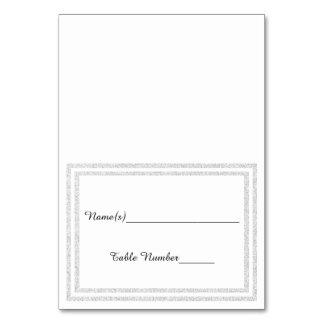 White Silver Glittered Trim - Escort Card