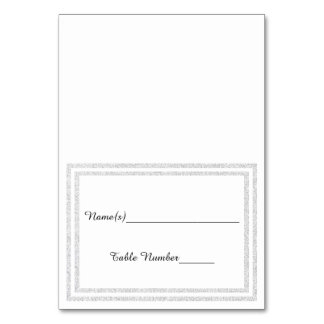 White Silver Glittered Trim - Escort Card Table Card