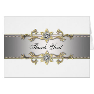 White Silver Gold Jewel Gold Thank You Cards