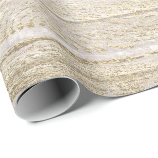 White Silver Gray Foxier Gold  Wood Rustic Wrapping Paper
