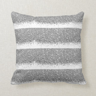 White Silver Gray Glitter Metallic Shiny Stripes Throw Pillow