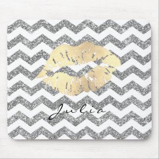 White Silver  Lips Chevron Glitter Name Gold Mouse Pad