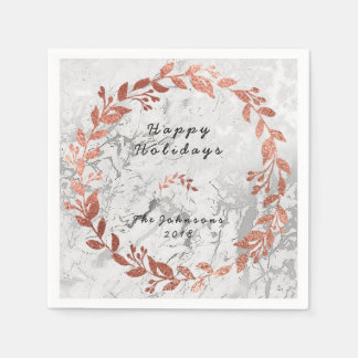 White Silver Marble Rose Pink Gold Glam Disposable Napkins