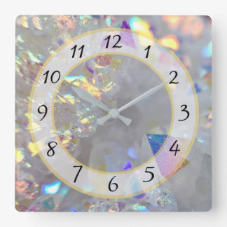 White Silver Metallic Faux Stone Gem Clock