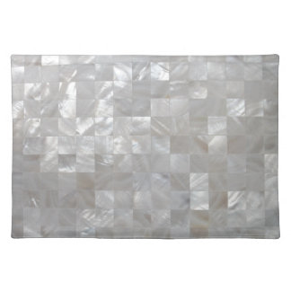 White Silver Mother Of Pearl Tiled Placemat