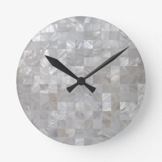 White Silver Mother Of Pearl Tiled Round Clock