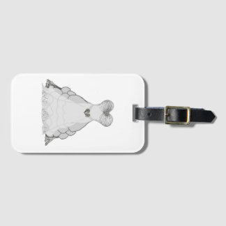 white & silver princess ballgown dress luggage tag
