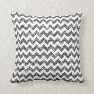 White Silver Shining Faux Glitter Chevron Pattern Throw Pillow