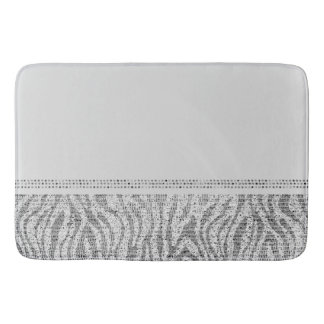 White Silver Zebra Wild Animal Print Exotic Glam Bath Mat
