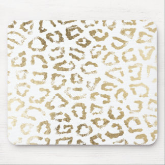 White simple chic faux gold modern animal print mouse pad