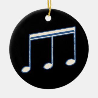 white simple musical note round ceramic ornament