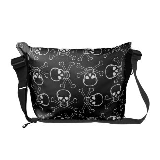 White Skull and Crossbones graphic Pattern Courier Bags