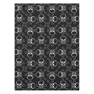 White Skull and Crossbones graphic Pattern Tablecloth